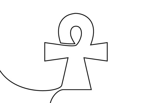 Creative vector Ankh. One line style illustration