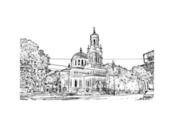 Building view with landmark of Lodz is a city in central Poland. Hand drawn sketch illustration in vector.