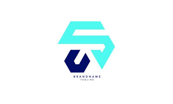 Alphabet letters Initials Monogram logo SU, US, S and U