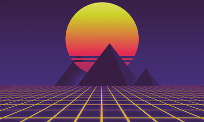 70s 80s Retro synthwave futurism pyramids with sunset on Background