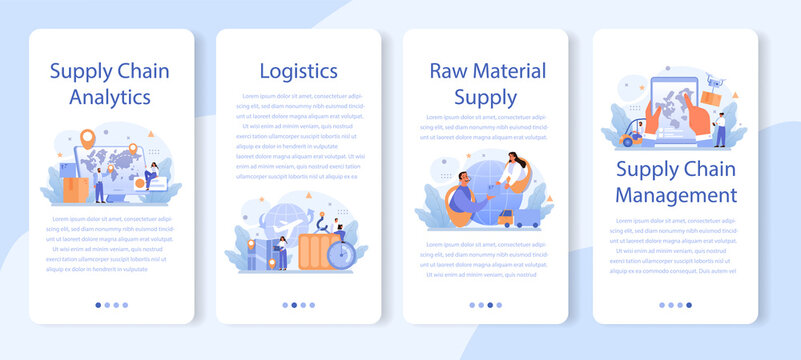Raw material supply mobile application banner set. Suppliers, B2B idea,