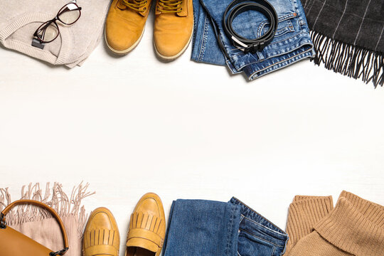 Flat lay composition with stylish clothes and accessories on white background. Space for text