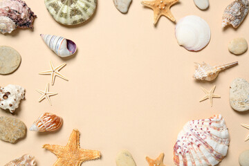Frame of seashells on light background, flat lay. Space for text