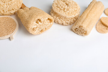 Wall Mural - Natural shower loofah sponges on white background