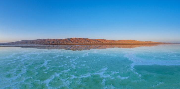 beautiful salt lake landscape at dusk