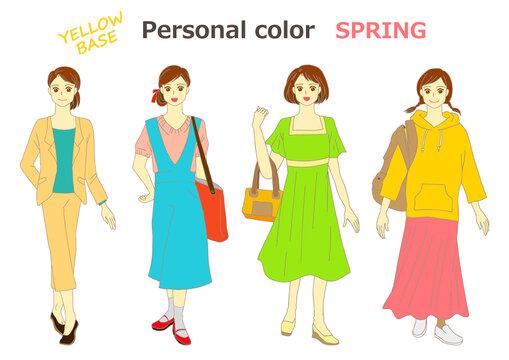 パーソナルカラー 女性モデルのイラストセット