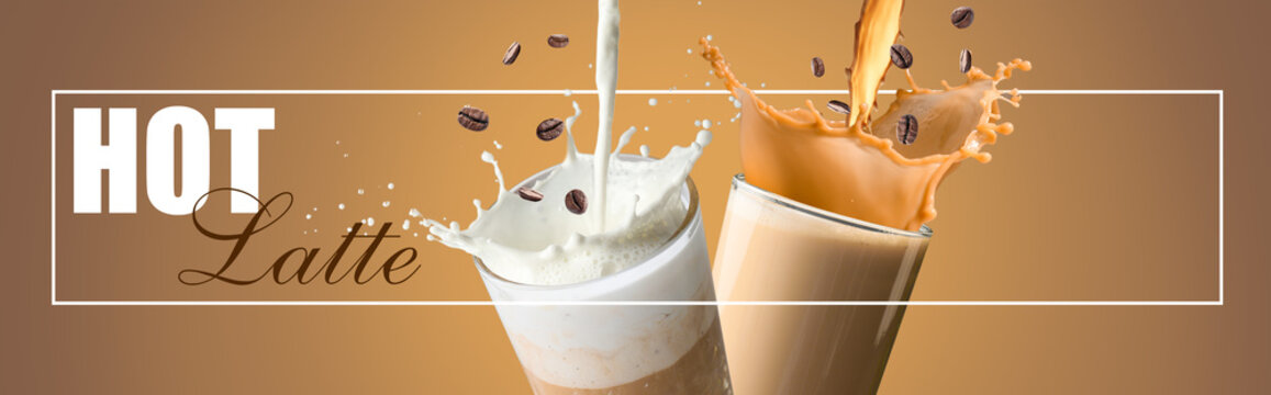 Glasses of tasty latte with splashes and falling coffee beans on color background