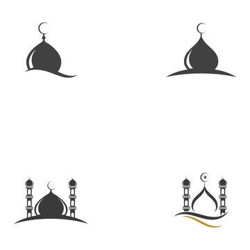 islamic mosque logo vector icon template