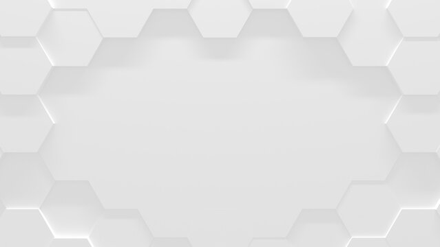 White Hexagon Background With Copy Space (3D Illustration)