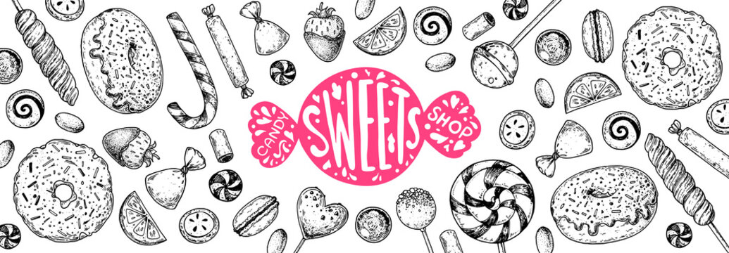 Set of sweets. Isolated on white background. Hand drawn vector illustration. Black and white candies set. Vector illustration in sketch style.