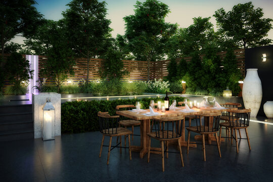 Ready for Dinner: Garden Restaurant (concept) - 3d visualization
