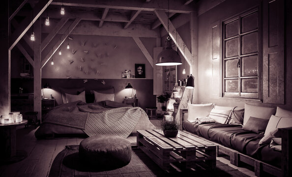 Truss Loft Bedroom with Pallet Furniture by Night (vintage look) - 3d visualization