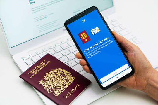 Melbourne, Australia - Feb 23, 2021: Applying for the Hong Kong BNO visa using newly released smartphone app. This is a new immigration route offered by UK to millions of people from Hong Kong.