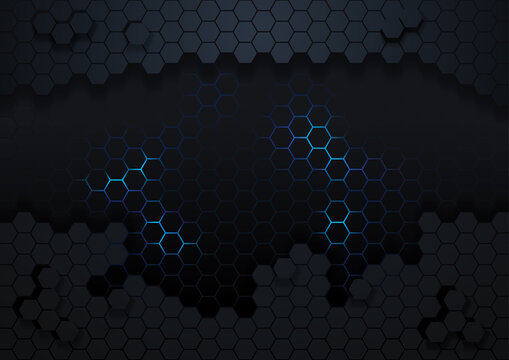 Dark Hexagonal Abstract Background with Blue Light Effect - Backdrop for Your Graphic Design Illustration, Vector