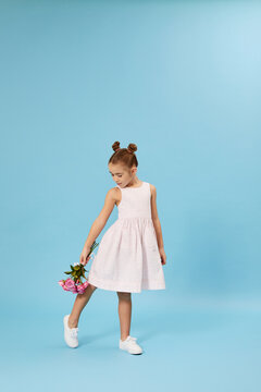 cute little child girl with bouquet of pink roses isolated on blue studio background. full length. spring time