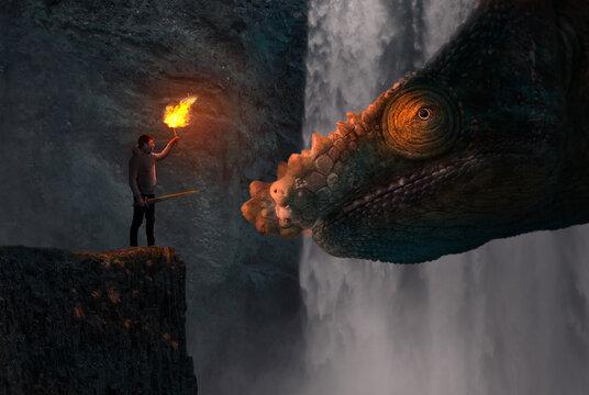 Concept of confidence - Man facing a dragon