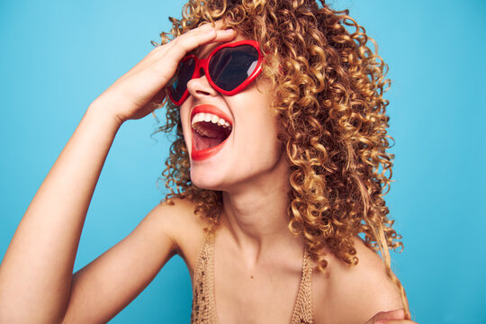 Emotional woman fun laughter and joy lipstick