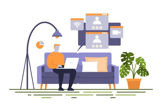 People Work From Home Internet Online Business Freelancer Illustration