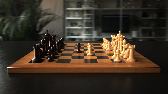 The first move in chess. 3d illustration.