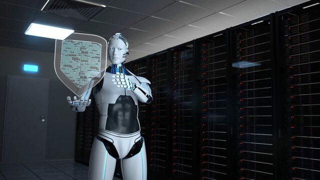 Humanoid Robot Protection Shield Server Room