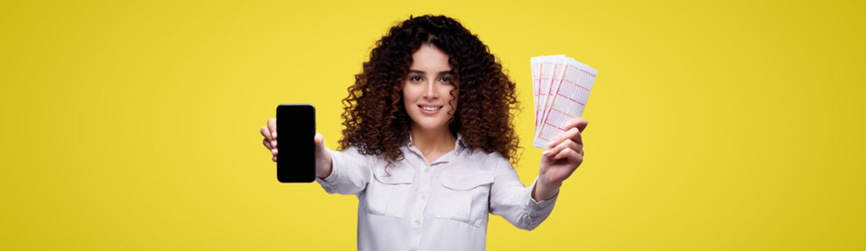 Look what luck. Young girl plays in online casino, lottery, sports betting.