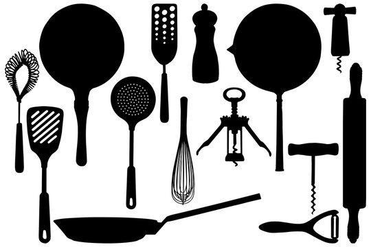 Kitchen stuffs silhouettes. Basis elements set on white background