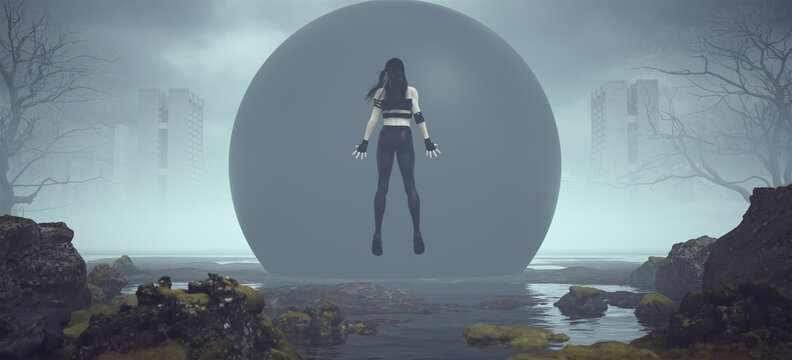Futuristic Female Superhero Floating in Front of a Mysterious Black Sphere in a Landscape near Foggy Abandoned Brutalist Style Architecture 3d illustration render