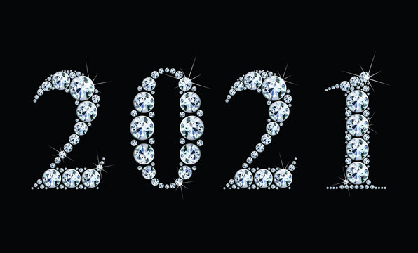 Text from diamonds 2021, gemstone styled numbers, vector illustration.