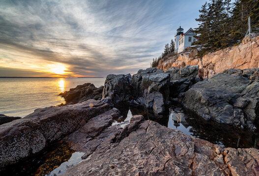 historic landmark Bass Harbor Head Light in Maine, United States