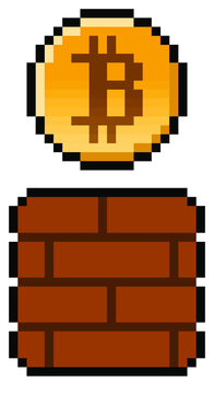 Pixel bitcoin coming from a gaming block - isolated (vector)