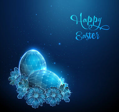 Blue Egg surrounded by flowers. Happy Easter card.