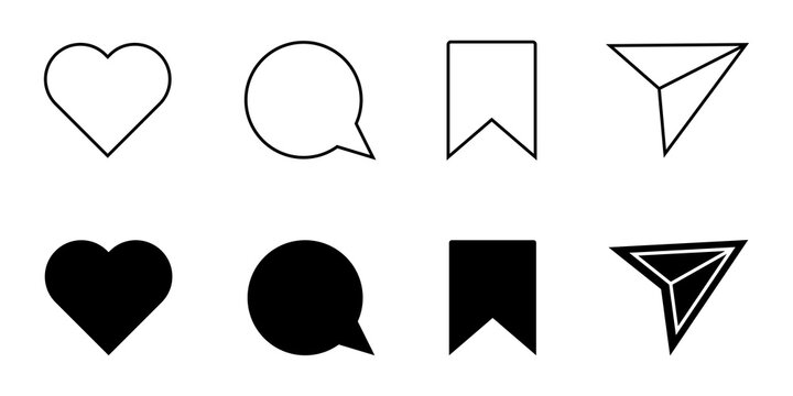Instagram Icons, Like, Comment, Share Save Social Media Flat Icon