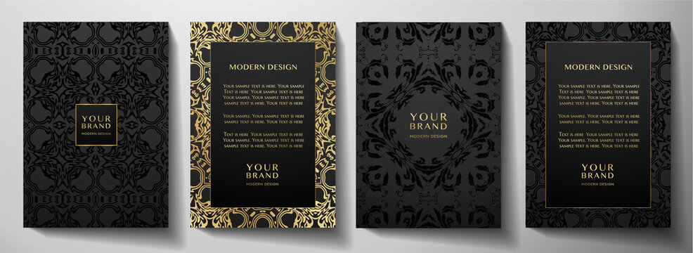 Floral gold curve pattern cover design set. Luxury abstract golden ornament on black background. Premium vector collection for brochure, invite, notebook, menu template