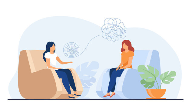 Woman sitting in armchair and talking with psychologist. Thought, therapy, mind flat vector illustration. Mental health and psychology concept for banner, website design or landing web page