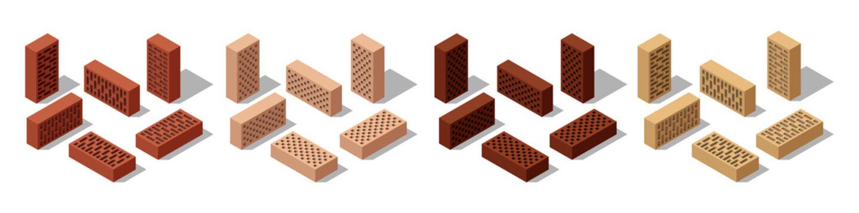 3d Isometric bricks, isolated bricks for wall masonry construction. Colorful solid blocks, set of icons. Vector illustration