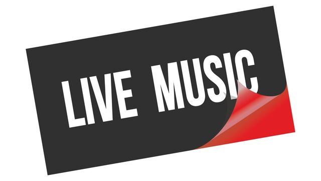 LIVE  MUSIC text on black red sticker stamp.