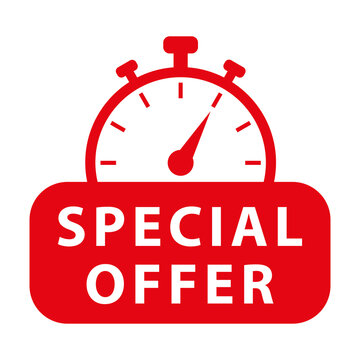 Special offer. Red vector icon with chronometer.