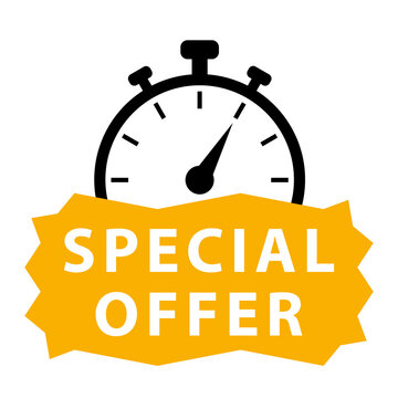 Special offer. Yellow and black vector icon with chronometer.