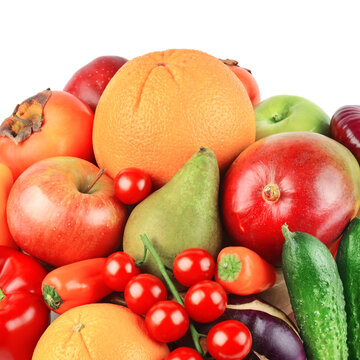 Fruits and vegetables isolated on a white background.