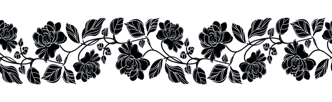 Abstract vector rose flower border