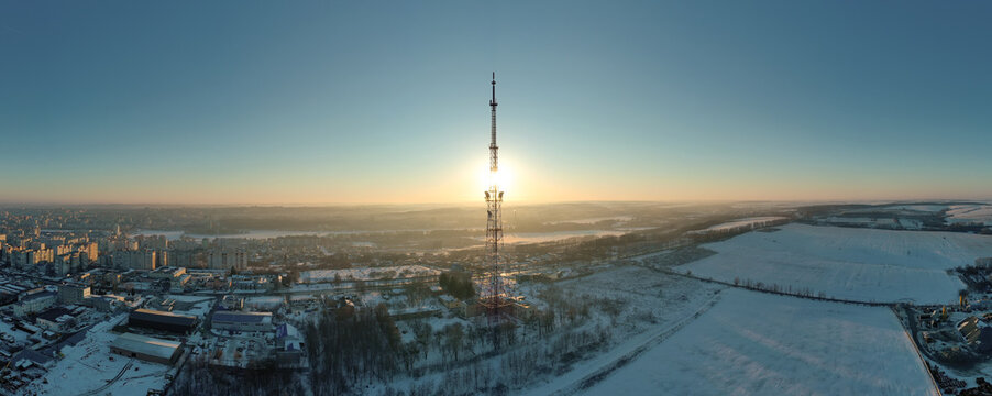 Telecommunication tower of 4G and 5G cellular. Base Station or Base Transceiver Station. Wireless Communication Antenna Transmitter. Telecommunication tower with antennas against sunset.
