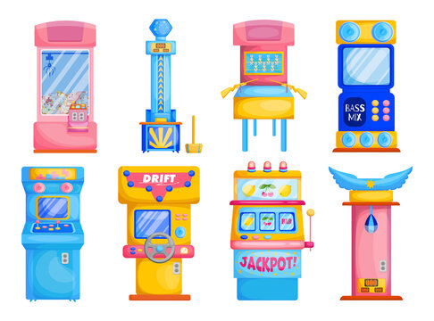 Colorful game machines flat set for web design. Cartoon attraction park devices with slots or soft toys isolated vector illustration collection. Gambling and entertainment concept