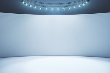 Obraz Blank light wall and white floor in empty hall room with led light on top. Mockup - fototapety do salonu