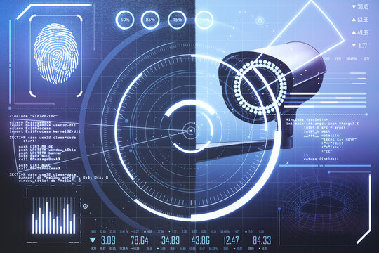 Human biometric identification concept with CCTV camera and digital screen with fingerprint, personal data and radar rings