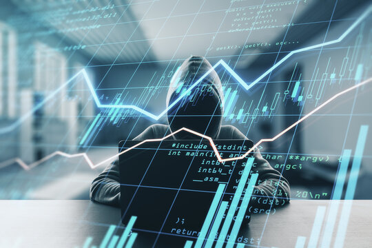 Trading security and spying concept with noface hacker using laptop an digital display with financial graphs and forex chart