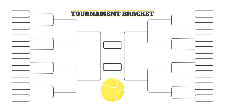 32 team tournament bracket championship template flat style design vector illustration isolated on white background. Championship bracket schedule for tennis game.