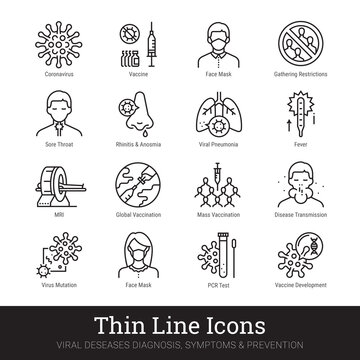 Viruses, viral infection, medical laboratory thin line icons. Vector set of medicine science. Viral disease, diagnosis, symptom, prevention, protective measures pictograms collection. Editable stroke.
