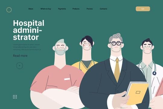 Medical insurance illustration -hospital administrator -modern flat vector concept digital illustration - a male hospital administrator with a team of doctors concept, medical office or laboratory