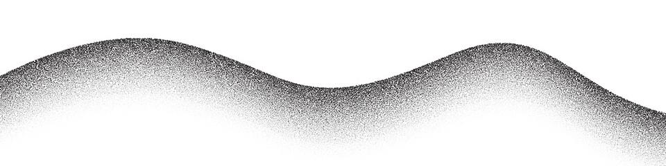 Obraz Dotwork mountain pattern vector background. Black noise stipple dots. Sand grain effect. Dots grunge banner. Abstract noise dotwork pattern. Stipple circles mountain. Dotted vector background. - fototapety do salonu