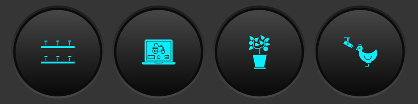 Set Automatic irrigation sprinklers, Laptop application for smart farm, Plant pot and Chicken and camera icon. Vector.